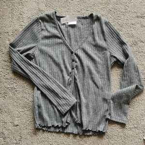 Ribbed long sleeve cardigan top